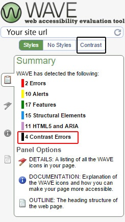 Example of Wave results accessibility testing